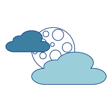 wolk maan nacht hemel natuur scène blauwe vector illustratie Vector Illustratie