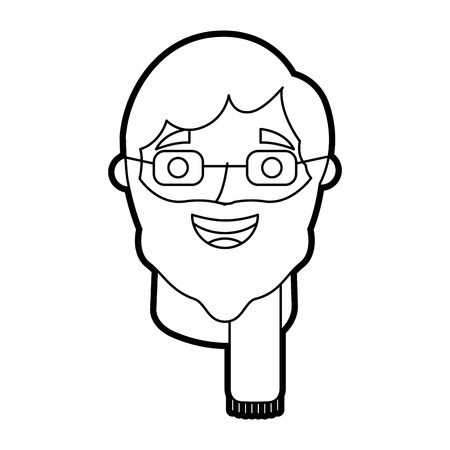 the face old man profile avatar of the grandfather vector illustration outline