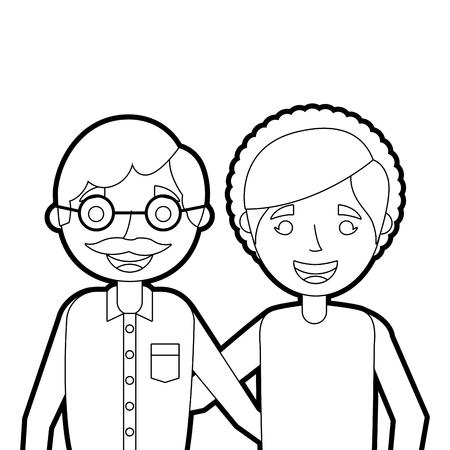 portret van bejaarde echtpaar omarmen gelukkig schattig vector illustratie vector illustratie overzicht