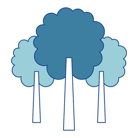 3つの木の葉森公園ナチュラルブルーベクトルイラスト