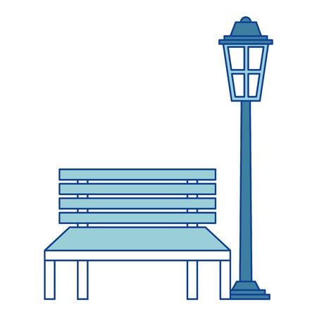 ベンチとランプパークの装飾要素青いベクトルイラスト