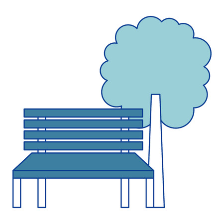 park bench and tree natural landscape blue vector illustration