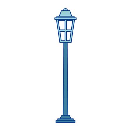 park straatlantaarn licht glas vintage decoratie blauwe vectorillustratie Stock Illustratie