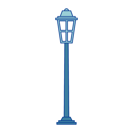 park street lamp light glass vintage decoration blue vector illustration