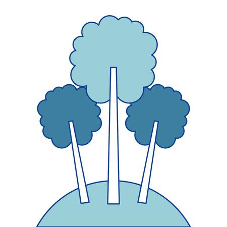 three tree foliage forest park natural blue vector illustration Illustration
