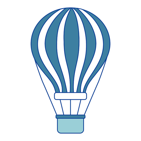 airballoon with basket recreation adventure blue vector illustration Illustration