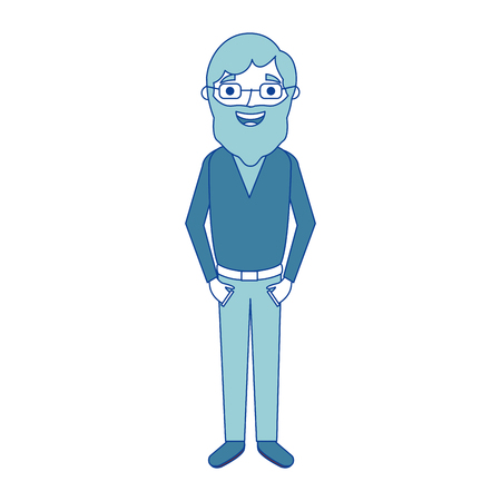 old man grandfather character standing blue vector illustration