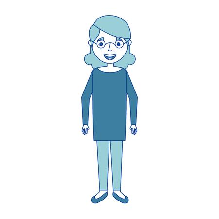 高齢女性おばあちゃんキャラクターハッピー表現 青ベクトルイラスト