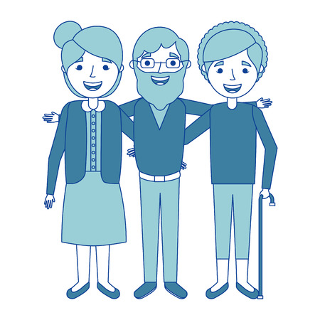 old man with women grandparents embraced together smiling blue vector illustration