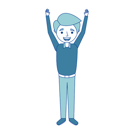 young man happy raising arms smiling blue vector illustration Stok Fotoğraf - 90690411