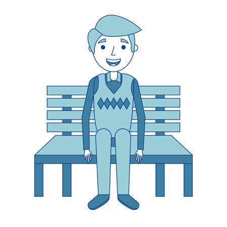 ベンチに座っているおじいちゃんおじいちゃんは青いベクトルイラストを待っています