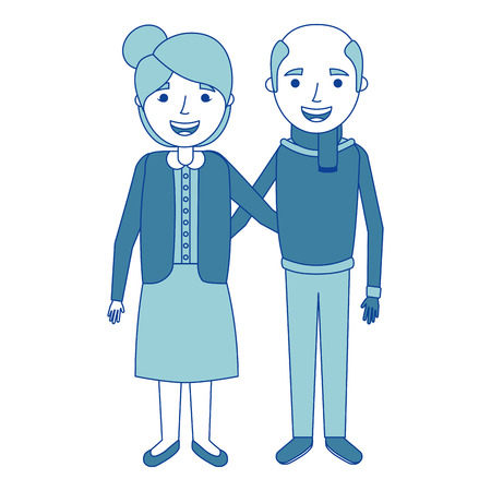 cute couple the old woman and man grandparents lovely blue vector illustration