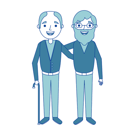 cartoon of two old men embraced friends together blue vector illustration
