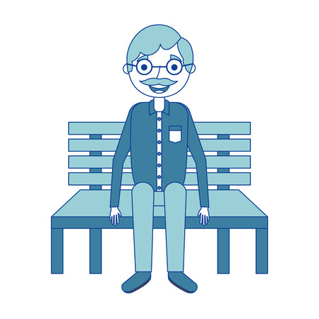 old man grandpa sitting in bench waiting blue vector illustration