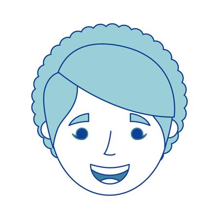 old woman face happy lady grandma cartoon blue vector illustration Иллюстрация