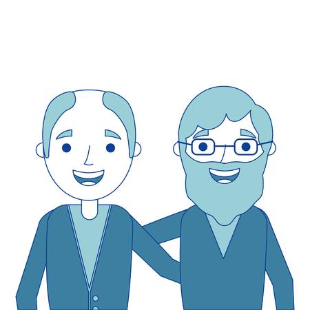 cartoon of two old men embraced friends together vector illustration blue