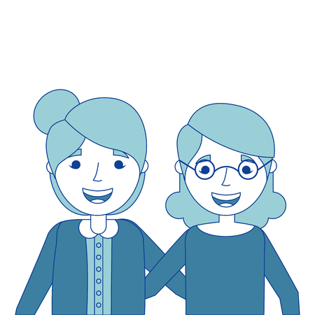 two older women friends together embraced vector illustration blue