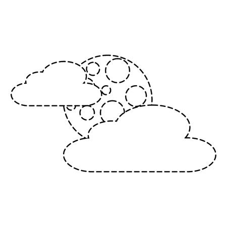 雲月夜空空自然シーンベクトルイラストステッカー  イラスト・ベクター素材