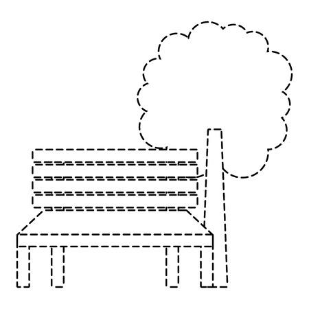 공원 벤치와 나무 자연 풍경 벡터 일러스트 스티커