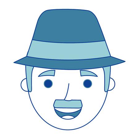 おじいちゃんブルーベクトルイラストの顔老人プロフィールアバター  イラスト・ベクター素材
