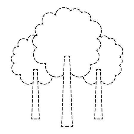 three tree foliage forest park natural botanical vector illustration sticker Ilustração