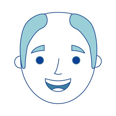 the face old man profile avatar of the grandfather blue vector illustration Illustration