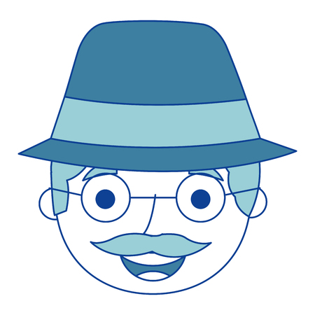 the face old man profile avatar of the grandfather blue vector illustration Иллюстрация