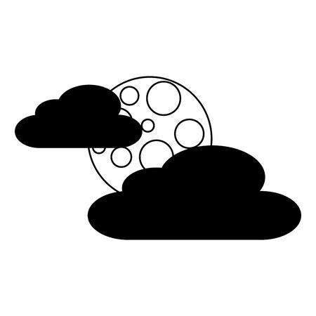 雲月夜空自然シーンベクトルイラスト
