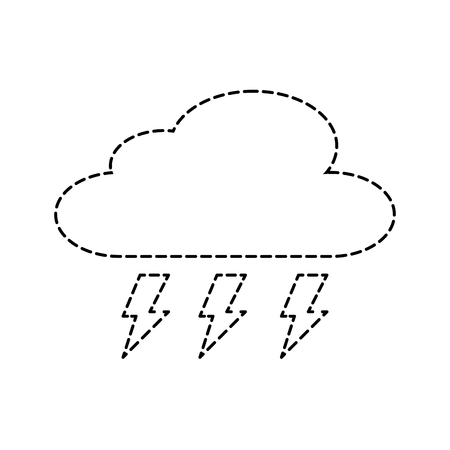 cloud weather with thunder bolt storm vector illustration sticker