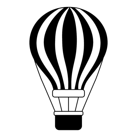 airballoon with basket recreation adventure vector illustration
