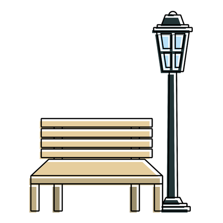 bench and lamp park decoration elements vector illustration