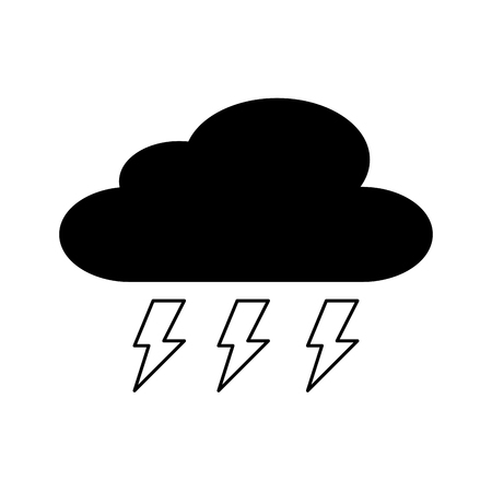 cloud weather with thunder bolt storm vector illustration Illustration