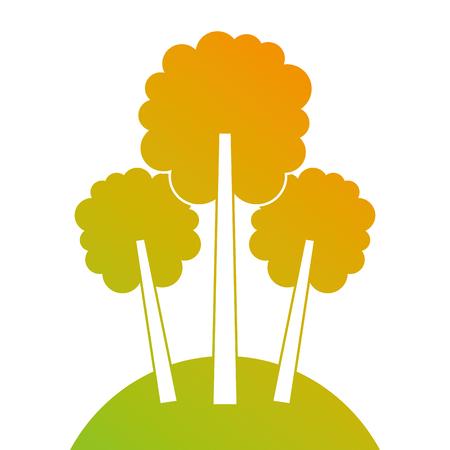 3本の木の草原の葉林公園自然ベクトルイラスト