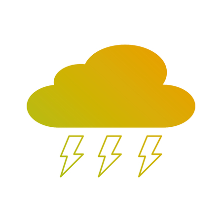 cloud weather with thunder bolt storm vector illustration 向量圖像