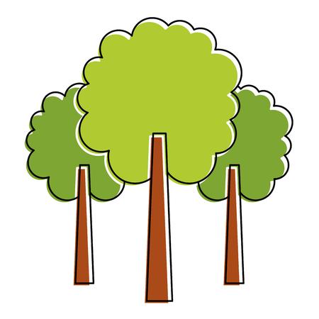 3つの木の葉森林公園自然植物ベクトルイラスト