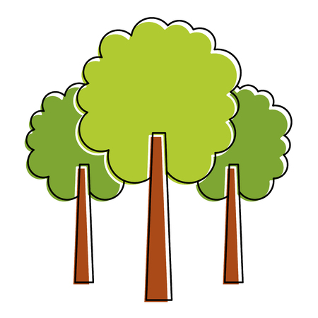 three tree foliage forest park natural botanical vector illustration