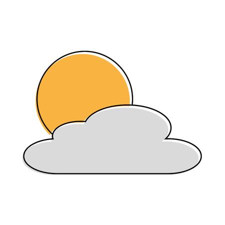 cloud sun day nature weather scene vector illustration