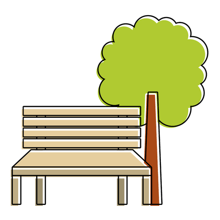 park bench and tree natural landscape vector illustration