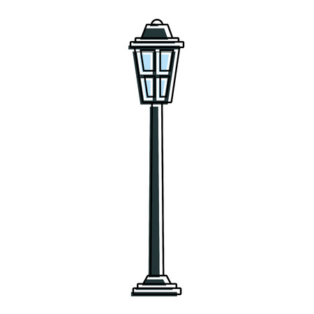 park street lamp light glass vintage decoration vector illustration Illustration