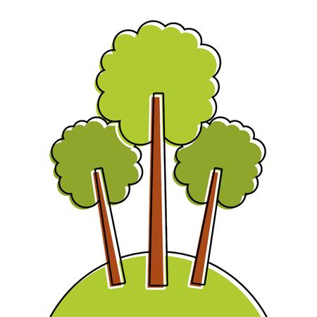 3 트리 초원 단풍 숲 공원 자연 벡터 일러스트 레이션 일러스트