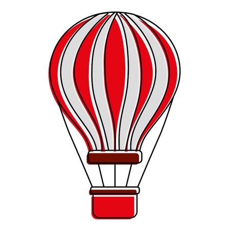 red and white airballoon with basket recreation adventure vector illustration Imagens - 90690473