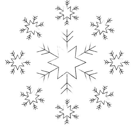 雪片雪アイコンクリスマスと冬のテーマデコレーションベクトルイラスト
