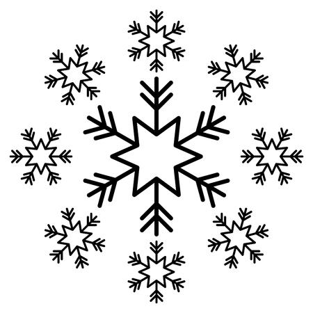 snowflake snow icon christmas and winter theme decoration vector illustration Illustration
