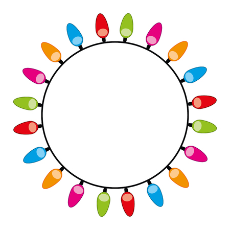 rounded decorate christmas lights design vector illustration Illustration