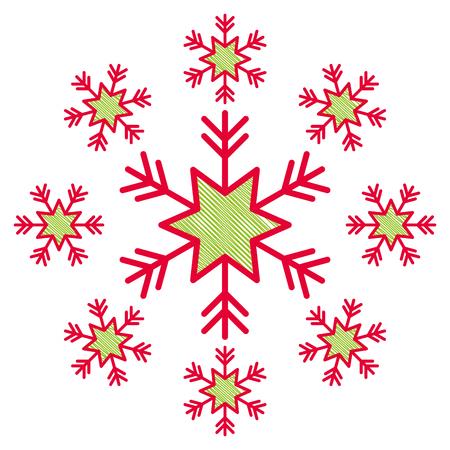 Schneeflocke Schnee Icon Weihnachten und Winter Thema Dekoration Vektor-Illustration Standard-Bild - 90690568