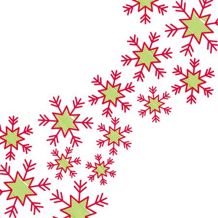 クリスマス雪フレーク落下カードデコレーションベクトルイラスト  イラスト・ベクター素材