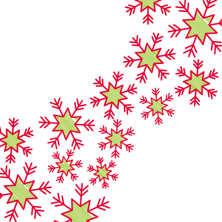 christmas snow flake falling card decoration vector illustration