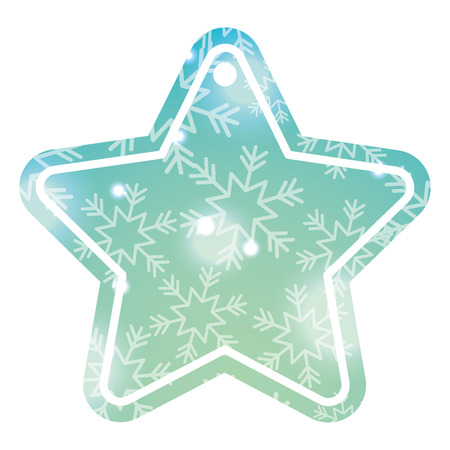 christmas tag price shaped star blur glitter decoration vector illustration Illustration