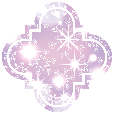 christmas sticker tag snowflake blurred glowing decoration season vector illustration Illustration