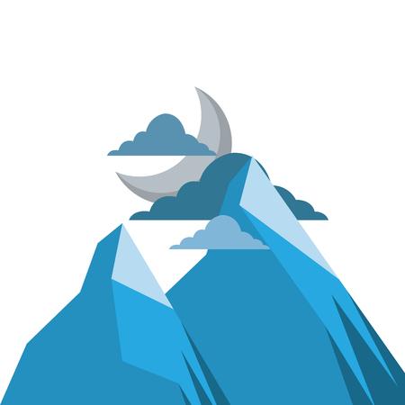 산에서 밤 달과 구름 자연 풍경 벡터 일러스트 레이 션